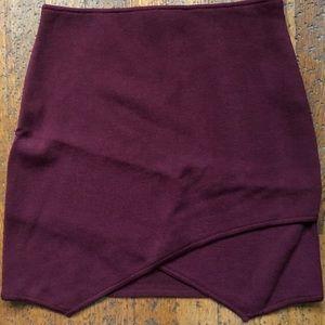 JOA maroon envelop skirt